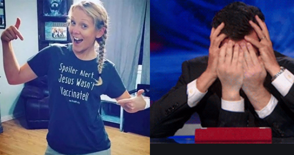 Here Are 26 Responses To An Anti-Vaxxer's Post Of Her Wearing 'Jesus Wasn't Vaccinated' T-Shirt